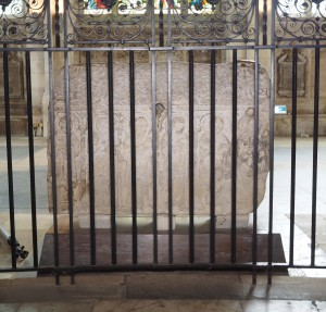 The Headda Stone seen from the 'back' obscured by railings