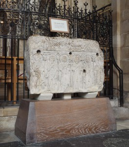 The Headda Stone in its current position in Peterborough Cathedral
