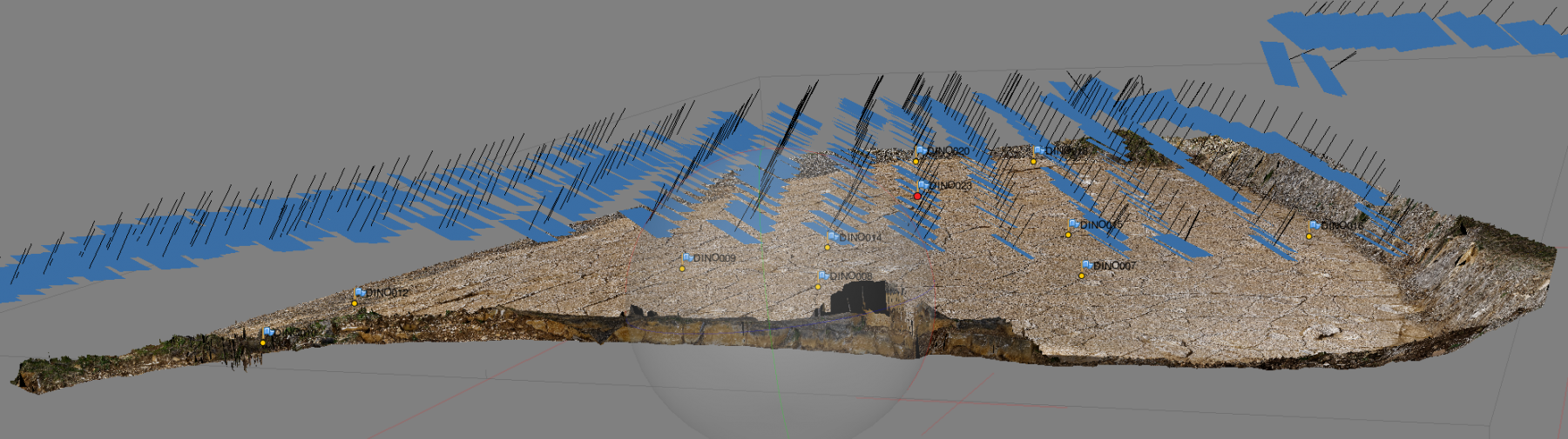 Image showing the camera positions in relation to the limestone surface - in section